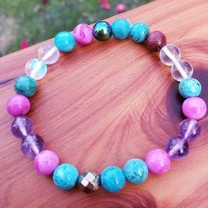 Jade, Amethyst, Hematite, Qtz & Wood Bead Bracelet